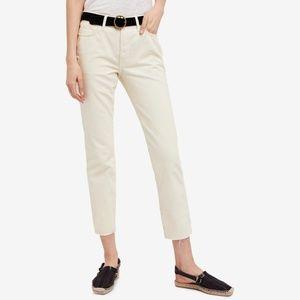 Free People White Ivory Frayed Hem Boyfriend Jeans